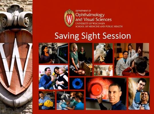 beginning slide for Saving Sight Session at UW Madison given by Dr. Liu